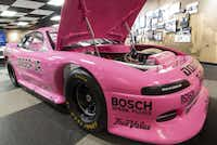 "Nicknamed the ""Pink Panther,"" this Dodge racer was driven by Al Unser Junior in the 1994 International Race of Champions (IROC).  Like all of the cars inside the Unser Racing Museum, there are no ropes keeping visitors from getting close to the cars."