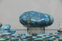 Examples of the blue-green rock sit on display in Albuquerque's Turquoise Museum.  The privately owned museum boasts specimens from 80 different turquoise mines from around the world.