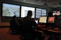 Frisco officials monitor traffic camera activity in the city's Emergency Operations Center, built in 2006 and housed in the central fire station.