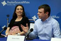 Michelle and Steven Seals of Maud in East Texas talk about their quintuplets at a news conference at Baylor University Medical Center.Brad Loper  -  Staff Photographer