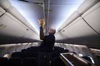 An American Airlines 737 is outfitted with a new Boeing Sky Interior, which is designed to evoke a greater sense of space. The interior has been ordered as an option on more than 90 percent of new planes, said Boeing official Kent Craver.