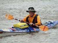 Ned Flottman paddles his White Rock Navy kayak. Flottman, along with his son and inlaws will take part in the MR340 race this week.