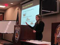 Stacey Brown, housing and grants administrator with the city of Frisco's Community Development and Housing department and chair of the Collin County Homeless Coalition, gave a primer on state of the city and county's homeless problem to a group of around 30 volunteers before they dispersed around Frisco to survey homeless individuals.Staff photo by EDEN STIFFMAN