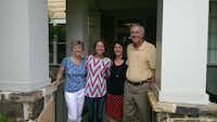 Margaret Henderson (from left), Carrie Giddens, Valarie Fratiani and John Henderson stand together outside  Fratiani's home Aug. 3 in Allen, where the two families met for the first time following the transplant that saved Giddens' life.Photo submitted by MARGARET HENDERSON