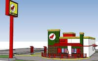 An artist's rendering of the new Rudy's Chicken to be built beside the old restaurant.