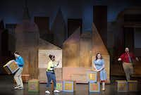 (From left) Justin Duncan, Sky Williams, Kathryn Taylor Rose and Nathaniel P. Reid perform the opening scene of Stuart Little at Dallas Children's Theater Friday, June 13, 2014 in Dallas. The play, which is based on the popular children's book, runs at the theater through July 13.G.J. McCarthy - Staff Photographer