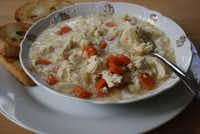 GINGERED CHICKEN AND RICE SOUP - This soup is a perfect blend of chicken, carrots and rice, and is spiced just right with ginger and garlic.Alicia Ross