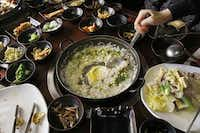 Porridge is a popular dish at Ssam Korean Grill in Korean town in Carrollton.(Lawrence E. Jenkins - Special Contributor)