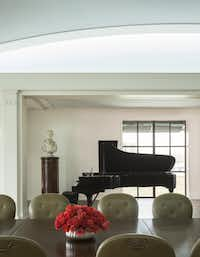 In a private reception area next to the dining room is one of Van Cliburn's personal black grand pianos, donated after the Fort Worth pianist died in February by his survivor and longtime companion, Thomas Smith.