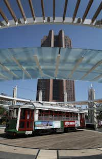 The McKinney Avenue Trolley on the turn-a-round at the City Place Station in Dallas, Texas on Wednesday, August 29, 2012.