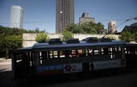 The McKinney Avenue Trolley across from the Dallas Museum of Art in Dallas, Texas on Wednesday, August 29, 2012.
