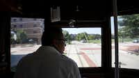 Motorman Arthur Torres watches the road while driving the McKinney Avenue Trolley in Dallas, Texas on Wednesday, August 29, 2012.