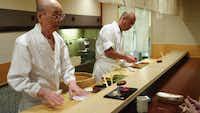 Jiro Ono and and his son, Yoshikazu Ono, in Jiro Dreams of Sushi.