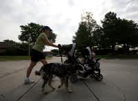 Emily Crawford jogs with her children Luke, front, 23 months, and Caitlyn, back, 4, and dogs in her Carrollton neighborhood.