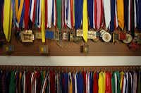 Peg boards hold some of the many medals Mary Ann Miller has received.