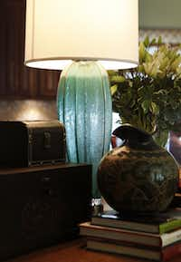 A $22 Murano vase that creative consultant Stephen Toon turned into a lamp at the home of David Smith and Michael Melvin in Plano, Texas on Friday, August 3, 2012.