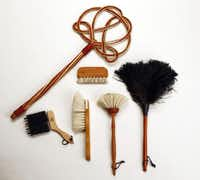 Brush off: Clean with tools handcrafted by the Germany-based, family-owned Redecker company. They look pretty in a basket in any pantry. Carpet beater ($12.95); window-blind brush ($21.95); goat-hair hand brush ($29.95); rubber upholstery brush ($29.95); round goat-hair dust brush ($34.95); and feather duster ($24.95) at Crate & Barrel, multiple locations.( G.J. McCarthy  -  Staff Photographer )