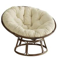 Handcrafted of natural rattan, the legendary Papasan chair is not only comfortable but long-lasting. Cushions are 50-inches in diameter and available in a variety of colors to coordinate with dorm decor. Papasan chair frame $67.95, on sale; cushions $59.50 to $84.15 on sale at local Pier 1 stores and pier1.com.(Pier 1 Imports -  Pier 1 Imports )