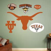 Officially licensed NCAA sports graphics rejuvenate a boring dorm room. Collegiate products range from life-size wall graphics and murals to logos and laptop skins. Texas Longhorn logo assortment is $39.99. Additional items are $14.99 to $99.99 at fathead.com.(fathead.com -  fathead.com )