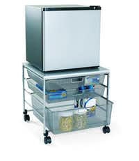 Hungry students will find food, plates and utensils right at hand on this compact, 21-inch square rolling cart. Sturdy enough to hold a mini refrigerator, the Elfa fridge cart has three mesh drawers, melamine top and four heavy-duty casters. $129 at The Container Store and containerstore.com.The Container Store -  The Container Store