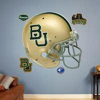 Officially licensed NCAA sports graphics rejuvenate a boring dorm room. Collegiate products range from life-size wall graphics and murals to logos and laptop skins. Baylor football helmet $89.99 at fathead.com.(fathead.com -  fathead.com )