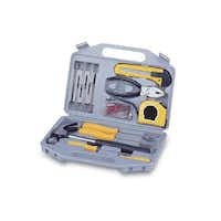 For minor maintenance and quick repairs, a tool kit is a necessity. The grey, molded plastic carrying case contains 14 essential tools for dorm life. Included are screwdrivers, utility knife, measuring tape, pliers, hammer and fasteners. Necessities Tool Kit, $36.78 at dormsmart.com.(dormsmart.com -  dormsmart.com )