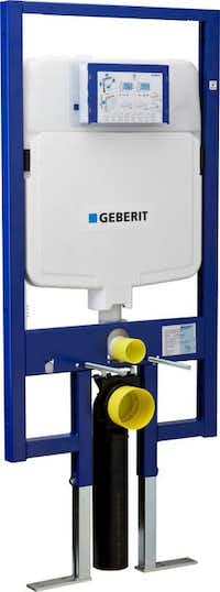 Flush - When an in-wall system is needed to accommodate a wall-hung toilet, the Duofix concealed carrier frame from Geberit houses a dual-flush water tank sized to fit within a 2- by 4-inch wall space. The system supports a low-consumption flushing volume of 1.6 and 0.8 gallons per flush (GPF). In-wall carrier from $600 at TKO Associates, Dallas.Krull Associates  -  Geberit