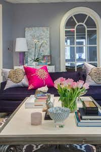 Abbe Fenimore of Studio Ten 25 called on others in the North Texas design community to complete her space. She outfitted the room with a sofa from DwD's warehouse and elevated it from donation pile to swoon-worthy with navy chenille.