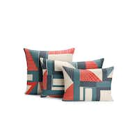 Lean back: The Abstract Pillow suite takes a modern spin on red, white and blue. $175 to $225 at Design Within Reach, Dallas.(Courtesy Design Within Reach -  Design Within Reach )
