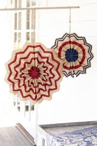Stars and stripes: Display burlap pinwheels on a deck, gazebo or front door for a flag-loving statement. $18.50 to $22.50 on sale, at Pottery Barn, Dallas, Southlake and Frisco.Laura Resen Michael Bennett -  Pottery Barn