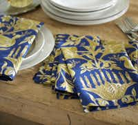Napkins embroidered with metallic threads are $28/4 at Pottery Barn, 3212 Knox St. and the Galleria, Dallas; Stonebriar Centre, Frisco; and potterybarn.com.