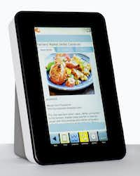 When cooking is her passion, a Wi-Fi touch screen, digital recipe reader is just the thing. Pre-loaded with 250 recipes (erasable), the unit includes space for 2,500 more. The 7-inch sealed splash-resistant, high-resolution monitor can be viewed vertically or horizontally and comes with an AC adaptor. $130 at neimanmarcus.com and horchow.com.