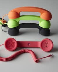For a tech-savvy modern woman with traditional needs, this retro handset will offer the convenience she needs. Compatible with all 3.5mm jack Smartphones and computers, the handset combines the ease of a classic phone with the features of a mobile phone. Solid colors $20, translucent handset $30 at horchow.com and neimanmarcus.com