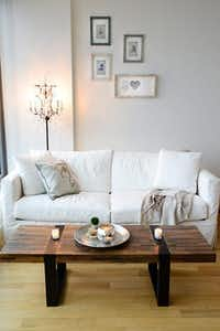 Jessica and Drew Morris's first apartment. They bought five hours of help from a Homepolish designer, Evan Schwartz.Homepolish
