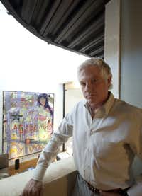 "Homeowner Ken Maxwell stands one level above the ""Hello Japan"" piece  that's the basis for his interior design."