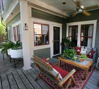 The back porch of Jackie and Doug Sweat's home on Junius Street in Munger Place  on Tuesday, August 27, 2013.