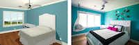 This 3-D image, left, helped Julie Friedman envision the finished bedroom, right.