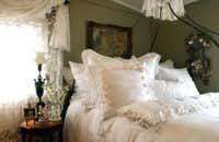 The Round Top antique market draws in people who love to hunt down antiques from this part of the country.  De Balthazar's antique linens are sold at the semi-annual event.