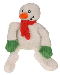 Frosty, part of the of the Huggle Hounds Holiday Knottie collection, is not only warm and cuddly but built to last. The corduroy dog toy is made with a patent-pending, three-layer construction, knotted legs and arms and five squeakers sewn inside. $19.95 small, $29.95 large at Lucky Dog Barkery, Dallas.