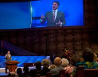 Gov. Rick Perry briefly spoke during Sunday's official dedication at First Baptist Church of Dallas.Cooper Neill - Staff Photographer