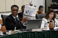 Dallas City Council member Dwaine Caraway discussed his proposal to ban disposable bags at City Hall on Monday.