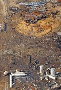 An aerial image shows railroad tracks bent by the April 17 explosion at West Fertilizer.