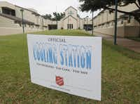 A sign outside the Carr P. Collins Center on Harry Hines in Dallas lets heat-weary folks know that a cooling station is available.