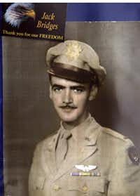 Jack Bridges was photographed upon receiving his commission in 1943. Shot down in 1944, he remained a prisoner of war until April 1945.