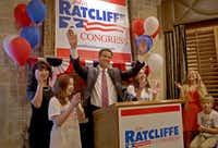 John Ratcliffe celebrated his GOP primary runoff victory Tuesday night along with his wife, Michele, and daughters Riley and Darby.Brad Loper  -  Staff Photographer