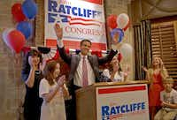 John Ratcliffe celebrated his GOP primary runoff victory Tuesday night along with his wife, Michele, and daughters Riley and Darby.( Brad Loper  -  Staff Photographer )