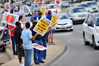 Southwest Airlines employees protested at Dallas Love Field on Thursday against the company's outsourcing proposal.