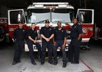 Dallas firefighters (from left) Derick Brouhard, Shane Farmer, Eric Talamantez, James Veasley and Claude Hight worked with Capt. Kenny Luckey Harris Jr. before his death in the West fertilizer plant explosion.