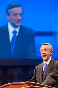 Dr. Robert Jeffress speaks to the congregation during the first service at the new $130 million campus for First Baptist Church of Dallas.