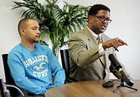 "In an interview Tuesday, Adrian Martin, appearing with his attorney, Heath Harris, said he feared for his life when Casebolt drew his weapon. ""Am I going to get shot?"" he thought.(G.J. McCarthy - Staff Photographer)"